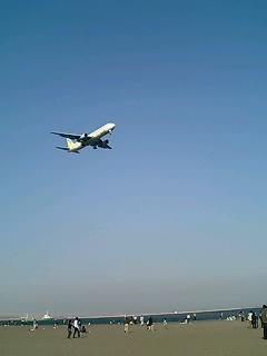 飛行機の下