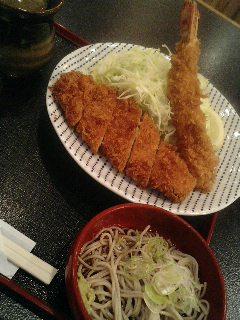 表参道丸屋のマグロカツ・エビフライ定食