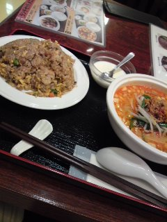 表参道 福縁 担々麺+醤油と黒酢味の炒飯
